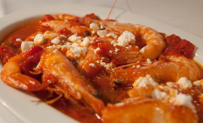 Saganaki (fried) shrimps